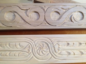 Detail shot of the carving for the sliding tool trays.